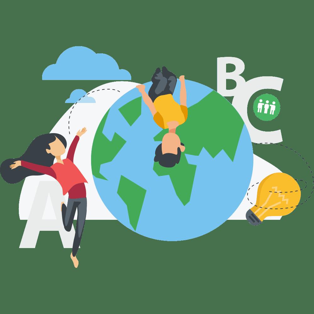 Illustration de la planète et de jeunes enfants