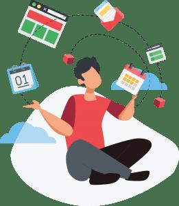 Personnage jonglant avec des calendriers, des site web et des cubes