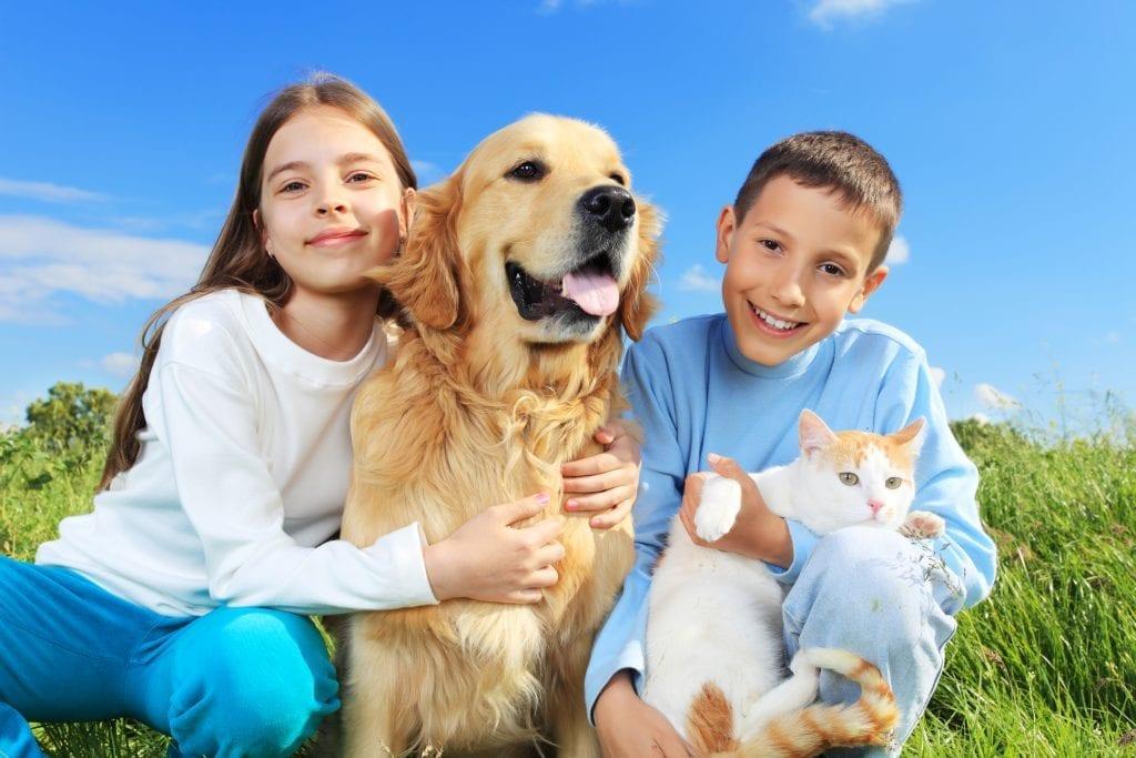 Adolescents avec un chat et un chien