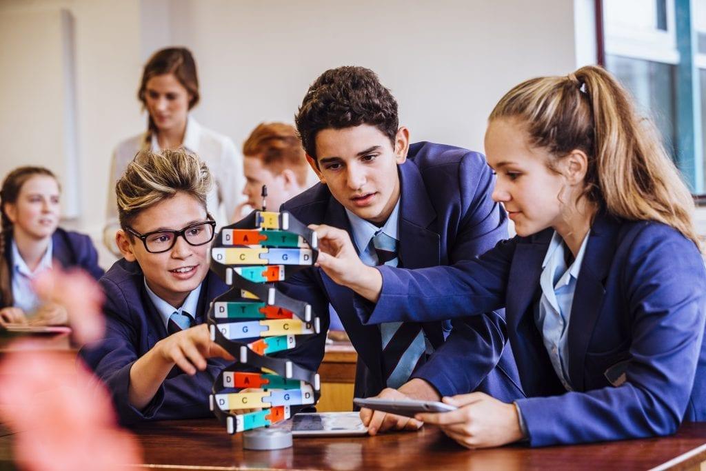 Groupe de jeunes qui jouent dans une classe